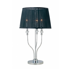 Modern Table Lamp with Black Shade in Chrome / Black Finish