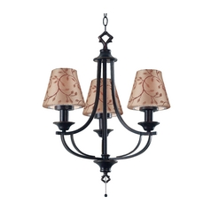 Outdoor Chandelier with Taupe Shades in Oil Rubbed Bronze Finish