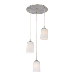 Design Classics Lighting Modern Multi-Light Pendant Light with White Glass and 3-Lights 583-09 GL1027
