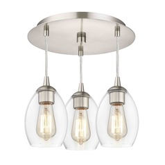 3-Light Semi-Flush Ceiling Light with Clear Oblong Glass - Nickel Finish