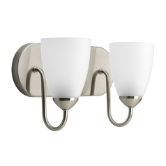 Progress Lighting Progress Bathroom Light with White Glass in Brushed Nickel Finish P2707-09EBWB