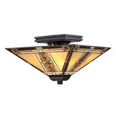 Semi-Flushmount Light with Multi-Color Glass in Valiant Bronze Finish