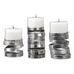 Uttermost Tamaki Silver Candleholders, Set of 3
