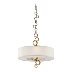 Corbett Lighting Continuum Brass Pendant Light with Drum Shade