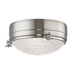 Mid-Century Modern Flushmount Light Satin Nickel Belmont by Hudson Valley Lighting