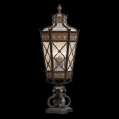 Fine Art Lamps Chateau Outdoor Umber Patina with Gold Accents Post Lighting
