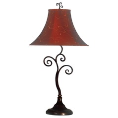 Table Lamp with Red Shade in Bronze Finish