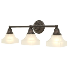 Craftsman Style 3-Light Bathroom Light Bronze with Square Glass