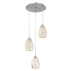 Design Classics Lighting Multi-Light Pendant Light with Mosaic Glass Glass and 3-Lights 583-09 GL1034