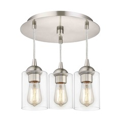 3-Light Semi-Flush Light with Clear Cylinder Glass - Nickel Finish