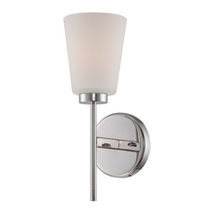 Modern Sconce Wall Light with White Glass in Polished Nickel Finish