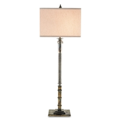 Currey and Company Lighting Antique Silver Table Lamp with Rectangle Shade