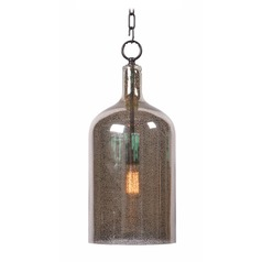 Kenroy Home Capri Antique Mercury W/ Orb Hardware Mini-Pendant Light with Cylindrical Shade
