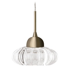 Modern Vintage Brass LED Mini-Pendant with Clear Shade 3000K 229LM
