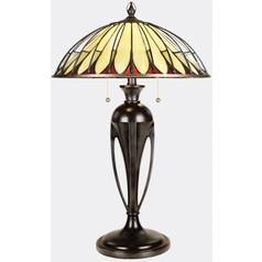 Table Lamp with Tiffany Glass in Burnt Cinnamon Finish
