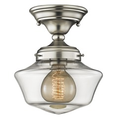 8-Inch Clear Glass Schoolhouse Ceiling Light