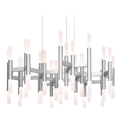 Modern LED Chandelier Light in Aluminum Finish