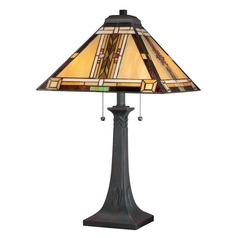 Tiffany Table Lamp with Multi-Color Glass in Valiant Bronze
