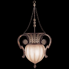 Fine Art Lamps Stile Bellagio Tortoised Leather Crackle with Stained Silver Leaf Accents Pendant Lig