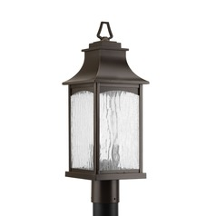 Water Seeded Glass Post Light Oil Rubbed Bronze Progress Lighting