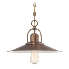 Designers Fountain Newbury Station Old Satin Brass Pendant Light with Coolie Shade