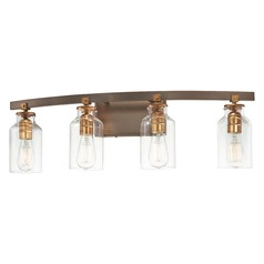 Edison Bulb Bathroom Light Bronze w/ Gold Highlights 30.25-Inch by Minka Lavery