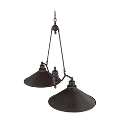 Pendant Light with Black Shades in Mission Dust Bronze Finish