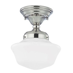 8-Inch Retro Style Schoolhouse Semi-Flushmount Ceiling Light