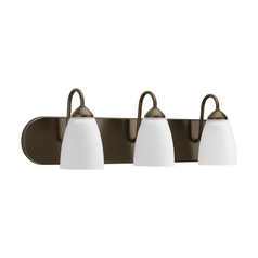 Progress Lighting Progress Bathroom Light with White Glass in Antique Bronze Finish P2708-20EBWB