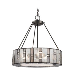 Elk Lighting Ethan Tiffany Bronze Pendant Light with Drum Shade