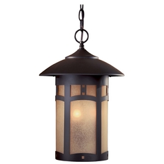 Outdoor Hanging Light with Beige / Cream Glass in Dorian Bronze Finish