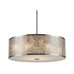 Modern Drum Pendant Light with White Glass in Polished Stainless Steel Finish