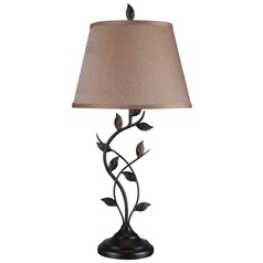 Table Lamp with Gold Shade in Oil Rubbed Bronze Finish