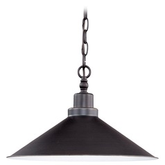 Pendant Light with Black Shade in Mission Dust Bronze Finish