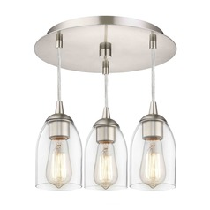3-Light Semi-Flush Ceiling Light with Clear Dome Glass - Nickel Finish
