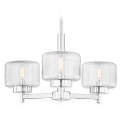 Industrial Seeded Glass Chandelier Chrome 3-Lt