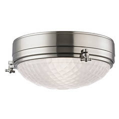 Nautical Flushmount Light Satin Nickel Belmont by Hudson Valley