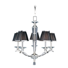 Maxim Lighting International Crystal Chandelier with Black Shades in Plated Silver Finish 32005BTPS