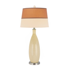 Modern Table Lamp in Polished Steel / Ivory Finish