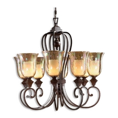 Chandelier with Amber Glass in Spice Finish