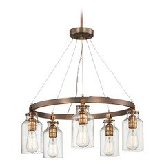 Edison Bulb Chandelier Bronze w/ Gold Highlights 24-Inch by Minka Lavery