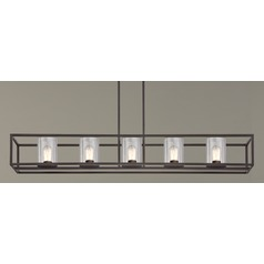 Industrial Linear Chandelier with Clear Glass and 5 Lights in Bronze