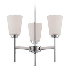Modern Chandelier with White Glass in Polished Nickel Finish