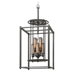 Troy Lighting Atlas Aged Pewter Pendant Light with Cylindrical Shade