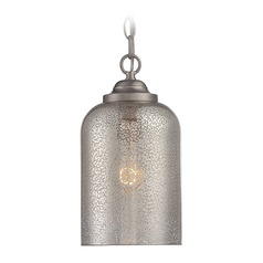 Savoy House Lighting Bally Satin Nickel Mini-Pendant Light with Cylindrical Shade