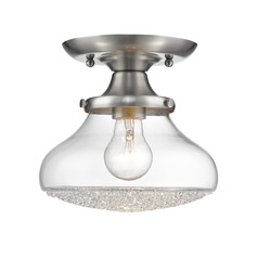 Asha Small Semi Flush in Pewter with Crushed Crystal Glass