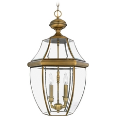 Quoizel Lighting Outdoor Hanging Light with Clear Glass in Antique Brass Finish NY1180A