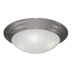 Flushmount Light with Alabaster Glass in Pewter Finish