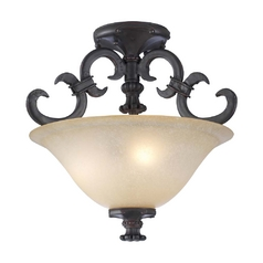 Modern Semi-Flushmount Light with Amber Glass in Oil Rubbed Bronze Finish