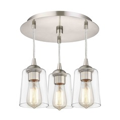 3-Light Semi-Flush Light with Clear Cone Glass - Nickel Finish